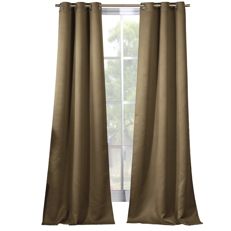 2-Piece Set: Solid Blackout Thermal Grommet Window Curtain Pair Panel Furniture & Decor Taupe - DailySale