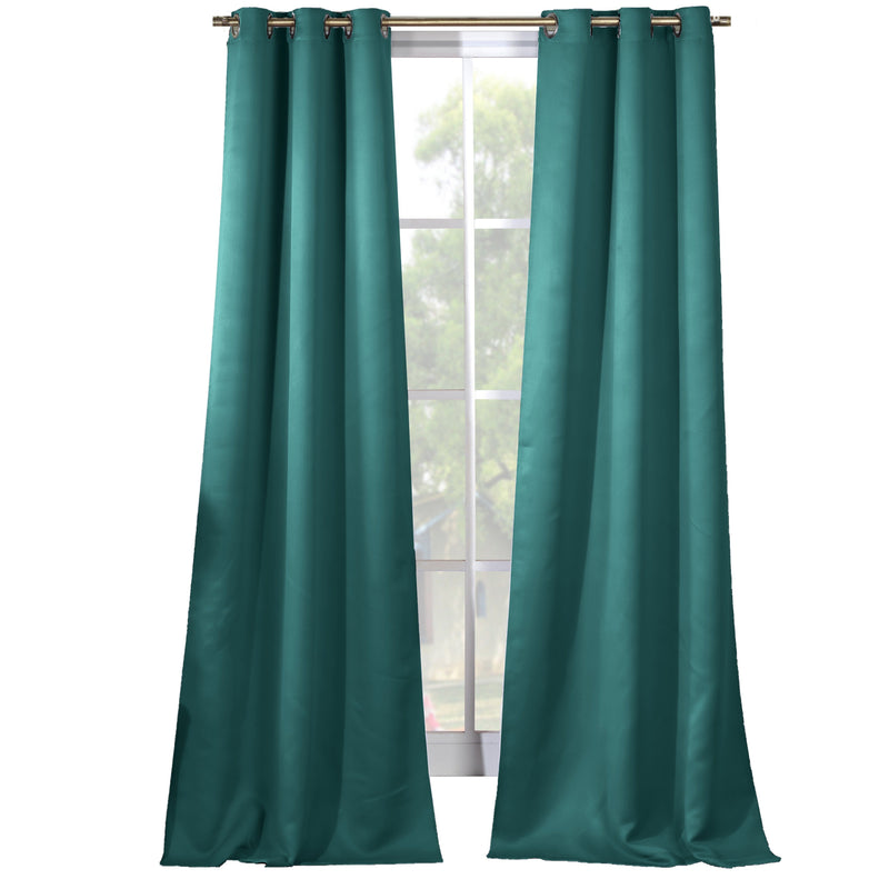 2-Piece Set: Solid Blackout Thermal Grommet Window Curtain Pair Panel Furniture & Decor Turquoise - DailySale
