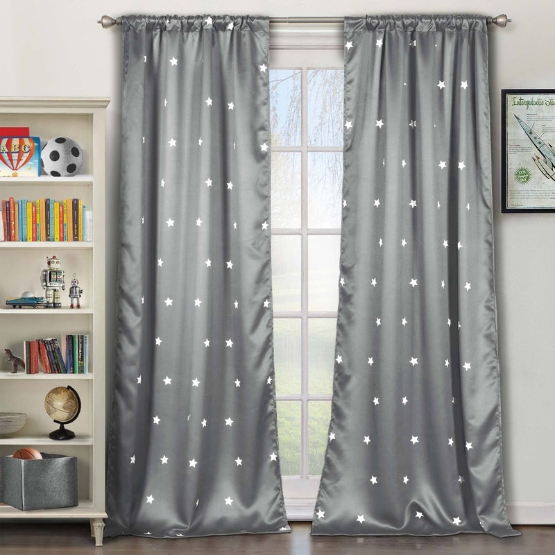 2-Piece Set: Stars Blackout Window Curtain Pair Panel Furniture & Decor Gray - DailySale