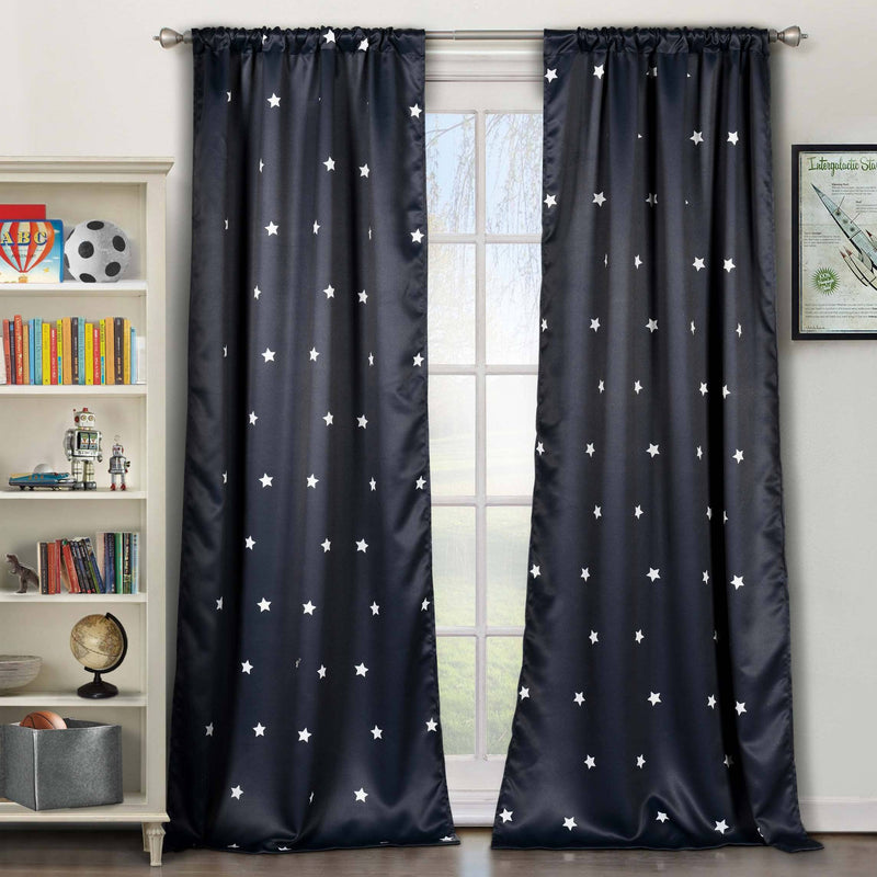 2-Piece Set: Stars Blackout Window Curtain Pair Panel Furniture & Decor Navy - DailySale