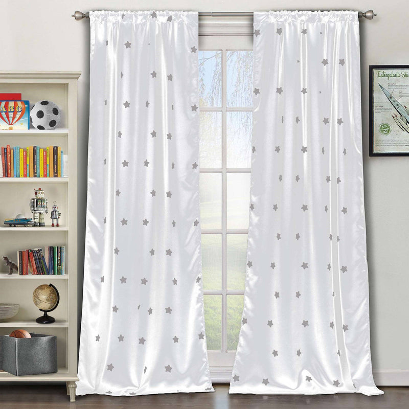 2-Piece Set: Stars Blackout Window Curtain Pair Panel Furniture & Decor White - DailySale