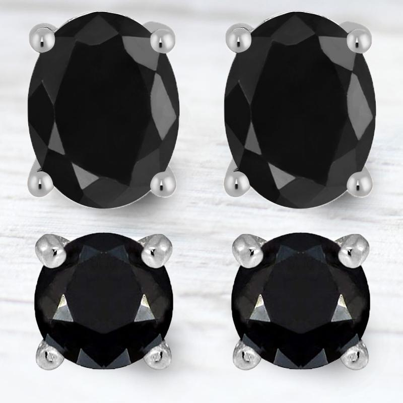 2-Piece Set: Sterling Silver Black Sapphire Studs Jewelry - DailySale