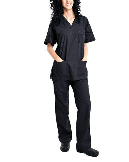 2-Piece Set: Unisex Cotton-Blend V-Neck Scrubs Top & Pants - Assorted Colors & Sizes Women's Apparel S Black - DailySale