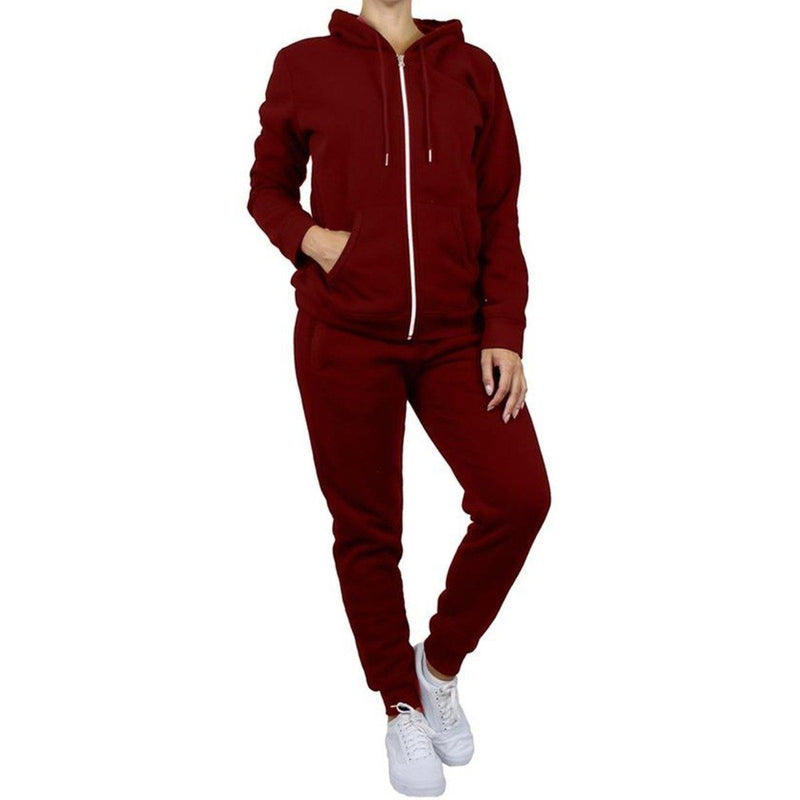 2-Piece: Women's Fleece-Lined Hoodie and Joggers Set Women's Apparel L Burgundy - DailySale