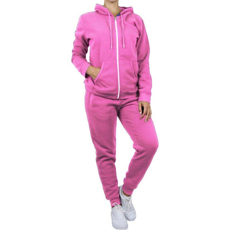 2-Piece: Women's Fleece-Lined Hoodie and Joggers Set Women's Apparel M Pink - DailySale