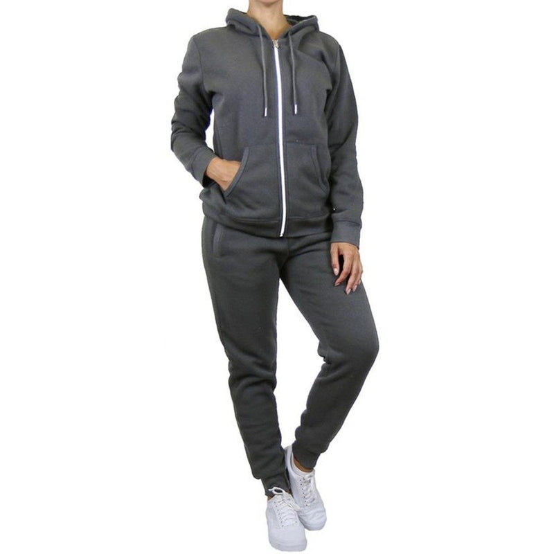 2-Piece: Women's Fleece-Lined Hoodie and Joggers Set Women's Apparel S Charcoal - DailySale