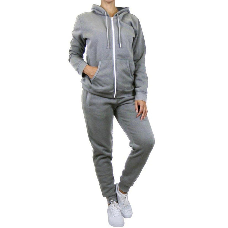 2-Piece: Women's Fleece-Lined Hoodie and Joggers Set Women's Apparel S Heather Gray - DailySale