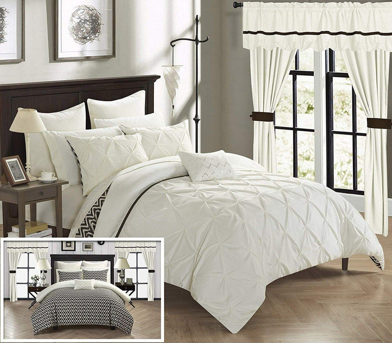 20-Piece: Knoxville Reversible Comforter Complete Bed Linen & Bedding King Beige - DailySale
