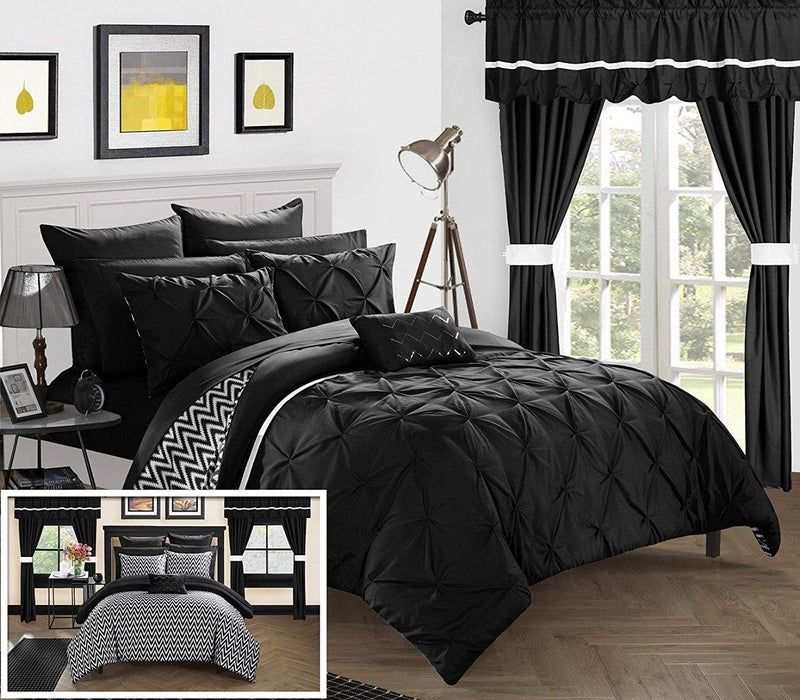 20-Piece: Knoxville Reversible Comforter Complete Bed Linen & Bedding King Black - DailySale