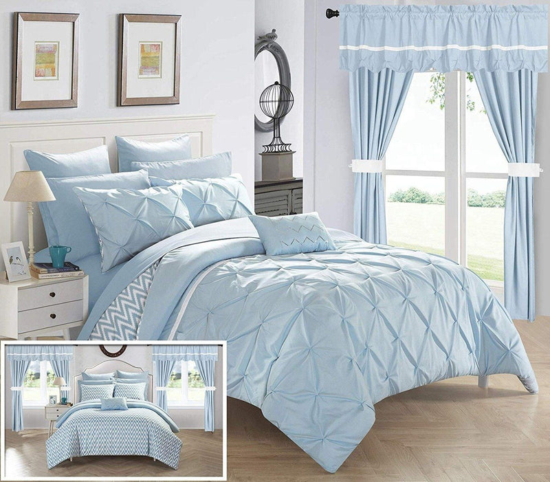 20-Piece: Knoxville Reversible Comforter Complete Bed Linen & Bedding King Blue - DailySale
