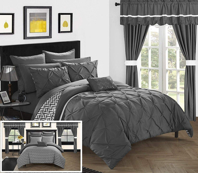 20-Piece: Knoxville Reversible Comforter Complete Bed Linen & Bedding King Gray - DailySale
