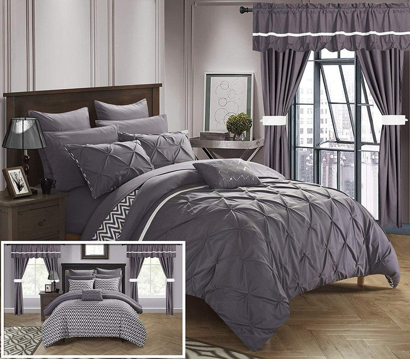 20-Piece: Knoxville Reversible Comforter Complete Bed Linen & Bedding King Plum - DailySale