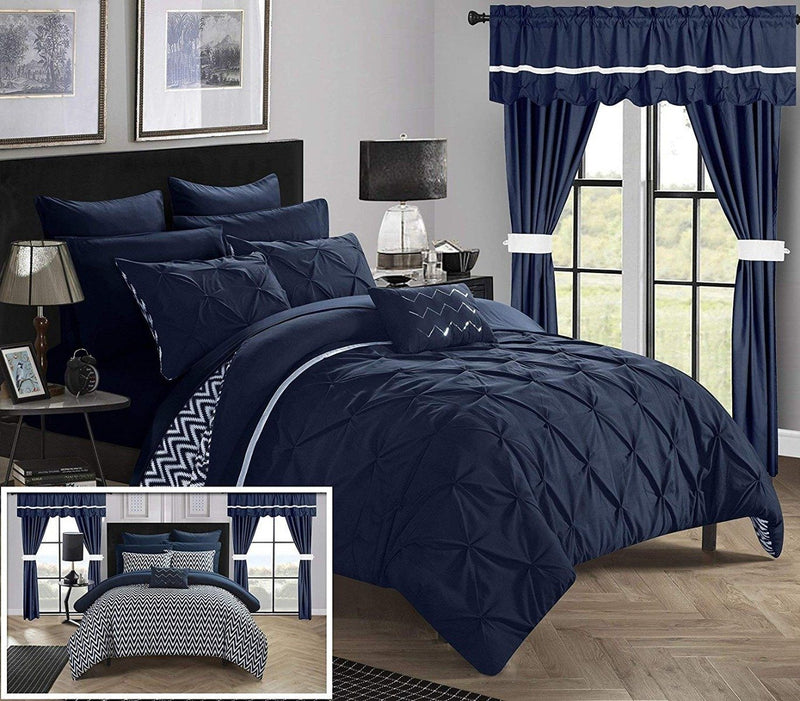 20-Piece: Knoxville Reversible Comforter Complete Bed Linen & Bedding Queen Navy - DailySale