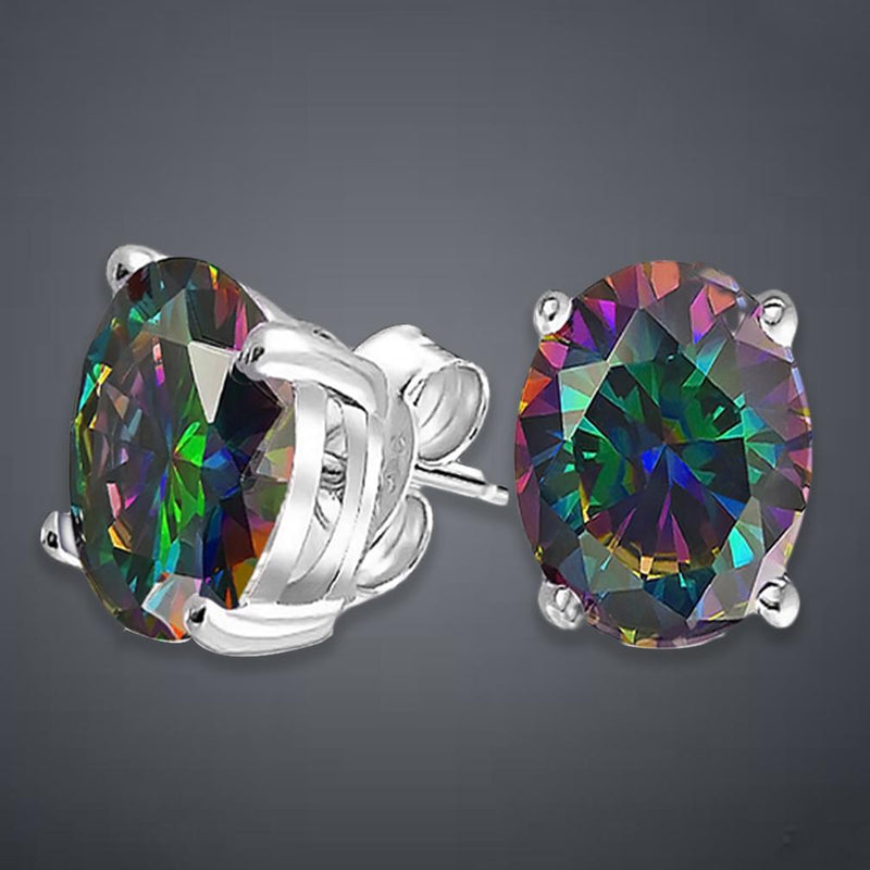 2.00 CTTW Genuine Rainbow Topaz Oval Cut Sterling Silver Studs Jewelry - DailySale