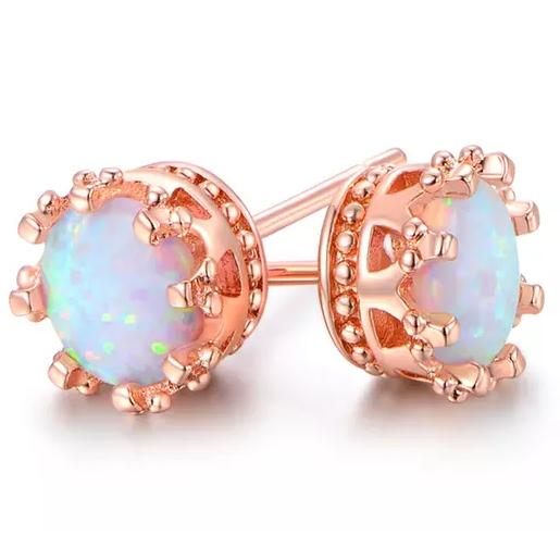 2.00 CTW Genuine Opal Crown Stud Earrings