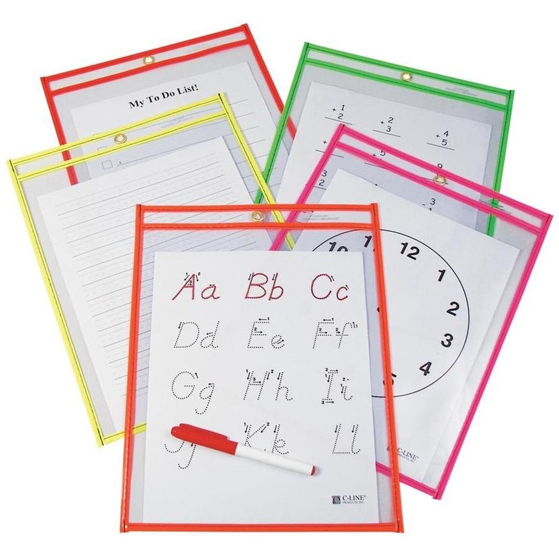 25-Pack: Reusable Dry Erase Pockets - Assorted Colors Toys & Games Neon Colors - DailySale