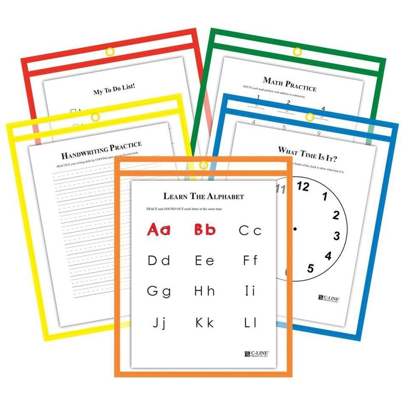 25-Pack: Reusable Dry Erase Pockets - Assorted Colors Toys & Games Primary Colors - DailySale