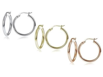25mm Classic French Lock Hoops in Solid Sterling Silver Jewelry - DailySale