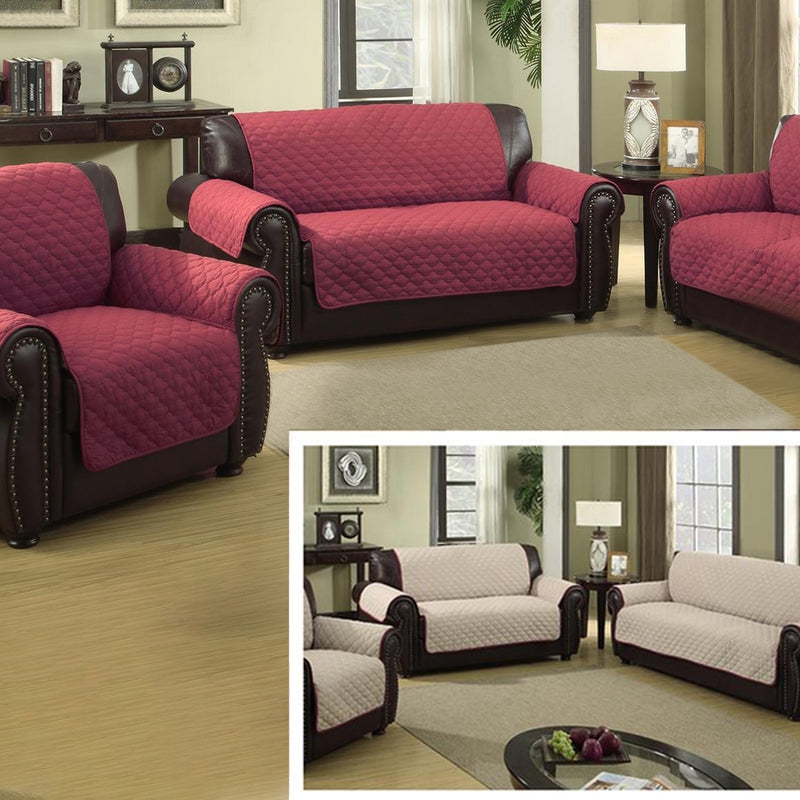 Waterproof Quilted Reversible Furniture Slipcover for Chair, Loveseat, Or Sofa - Assorted Sizes and Colors - DailySale, Inc