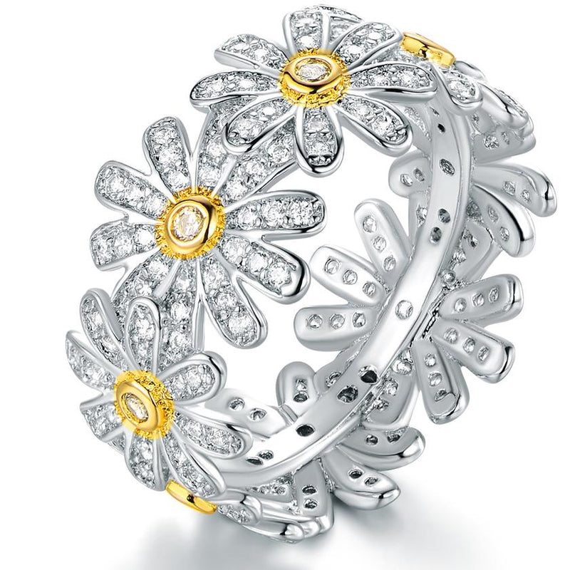 18K White Gold Plated Floral Sunflower Ring Made with Swarovski Crystals - DailySale, Inc