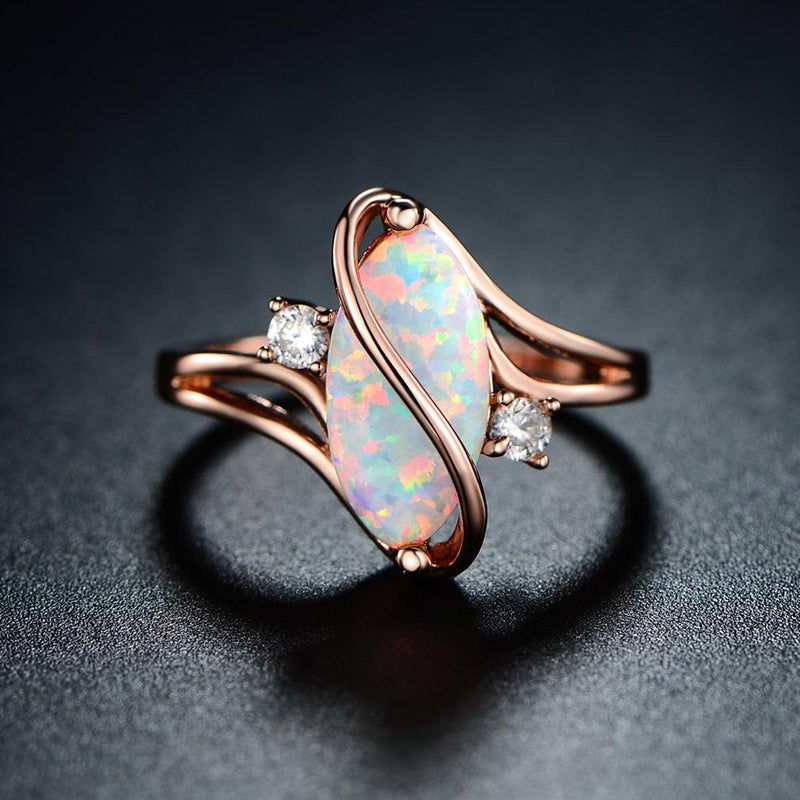 3 CTTW Fire Opal S Ring in 18K Rose Gold Plating - Size 9 Jewelry - DailySale