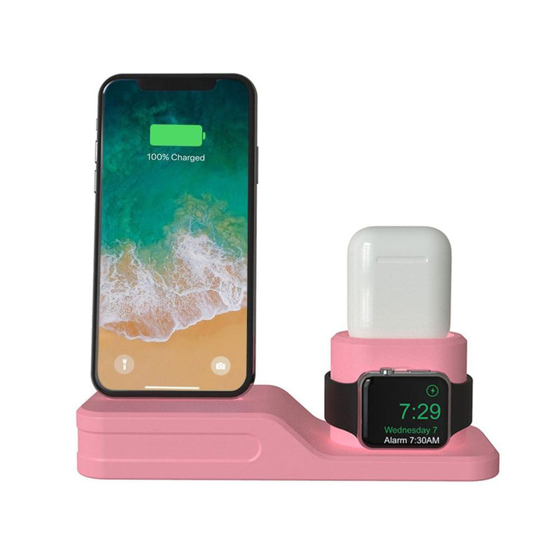3-in-1 Charging Dock for Apple iPhone, Watch & AirPod Gadgets & Accessories Pink - DailySale