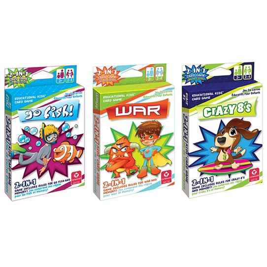 3-Pack: 2-in-1 Kids' Card Games Toys & Hobbies War/ Go Fish/ Crazy 8's - DailySale