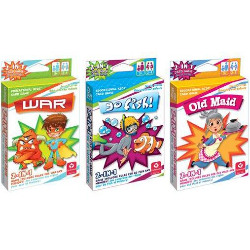 3-Pack: 2-in-1 Kids' Card Games Toys & Hobbies War/ Go Fish/ Old Maid - DailySale
