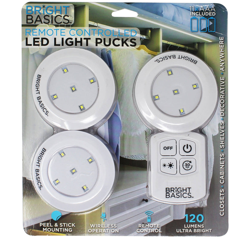 3-Pack: Bright Basics Ultra Thin Wireless LED Puck Lights with Remote Control Lighting & Decor - DailySale