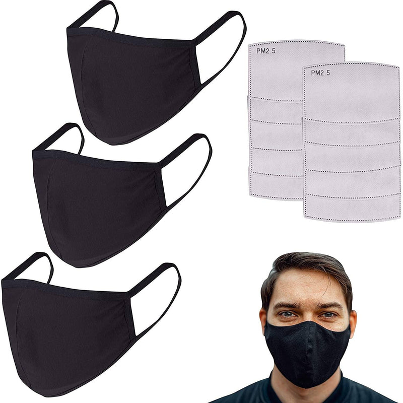 3-Pack: Cotton Reusable Face Masks with 10 Filters