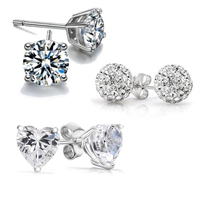 3-Pack: Crystal Stud Earrings Set with Swarovski Elements Jewelry - DailySale