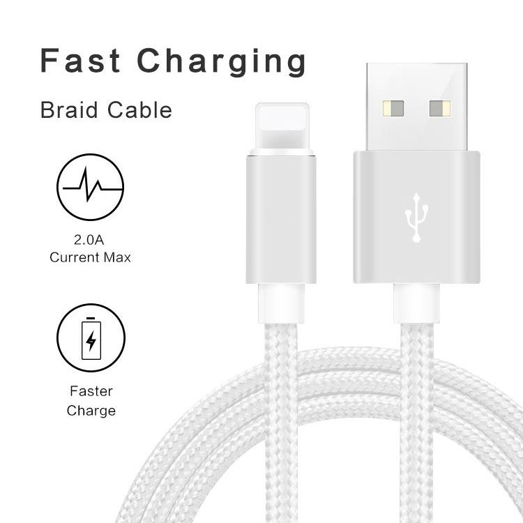 3-Pack: Heavy Duty Braided iPhone Lightning USB Cable - White Phones & Accessories - DailySale