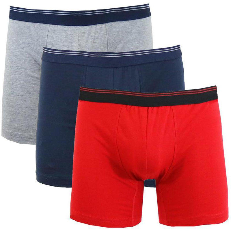 3-Pack: Men's Cotton Stretch Boxer Briefs Men's Apparel Heather Gray/Navy/Red M - DailySale