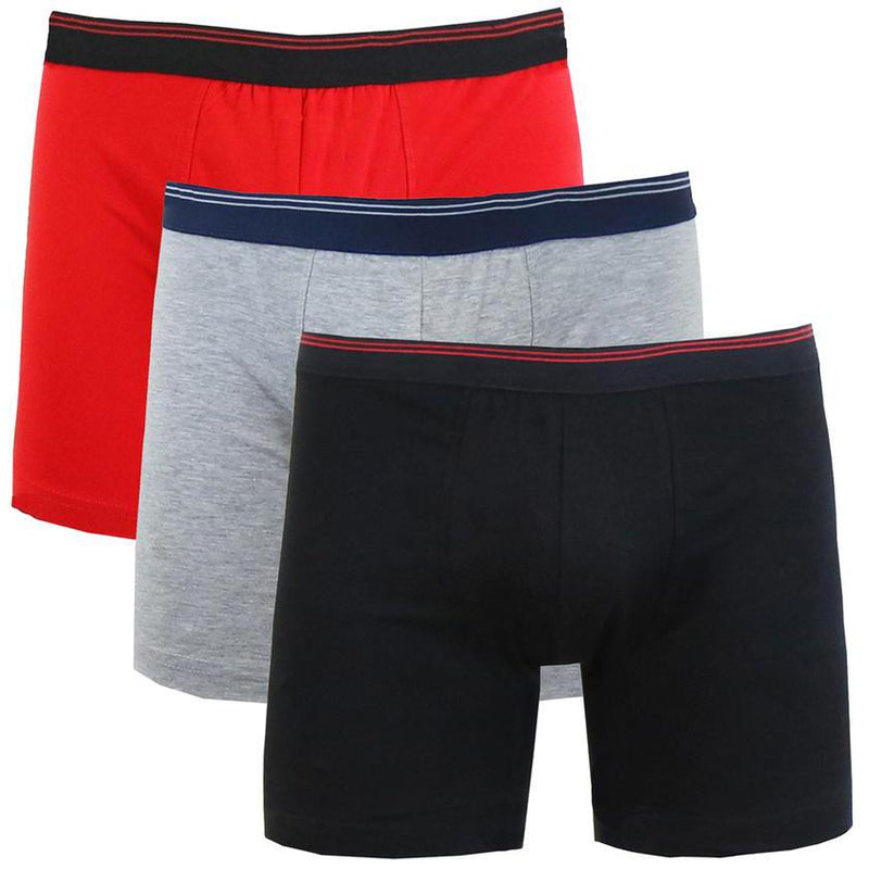 3-Pack: Men's Cotton Stretch Boxer Briefs Men's Apparel Red/Heather Gray/Black M - DailySale