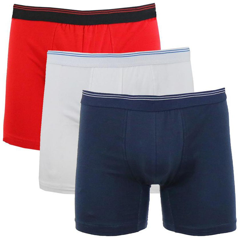 3-Pack: Men's Cotton Stretch Boxer Briefs Men's Apparel Red/White/Navy S - DailySale