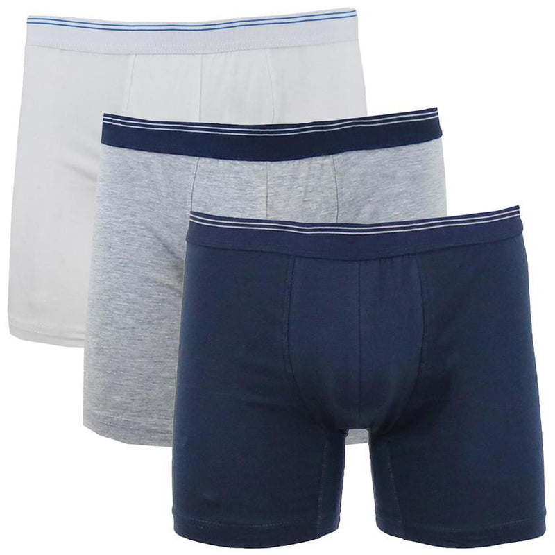 3-Pack: Men's Cotton Stretch Boxer Briefs Men's Apparel White/Heather Gray/Navy S - DailySale