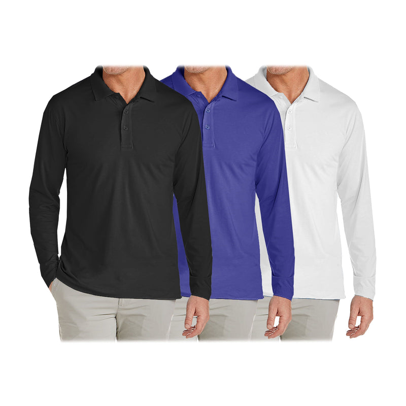 3-Pack: Men's Long Sleeve Pique Polo Shirts Men's Clothing Black/Royal/White S - DailySale