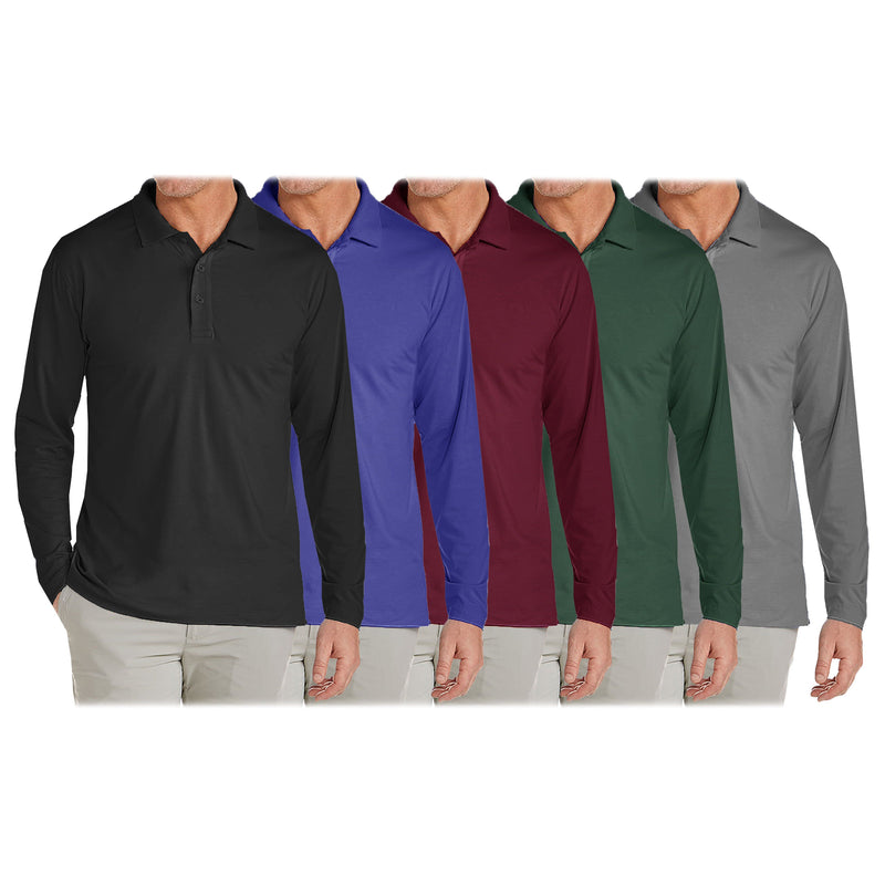 3-Pack: Men's Long Sleeve Pique Polo Shirts Men's Clothing - DailySale