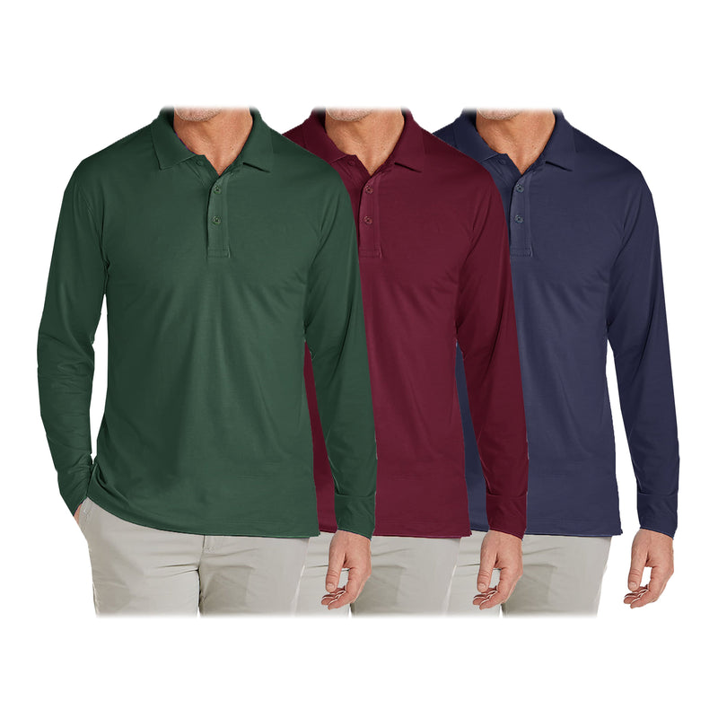 3-Pack: Men's Long Sleeve Pique Polo Shirts Men's Clothing Hunter/Burgundy/Navy S - DailySale