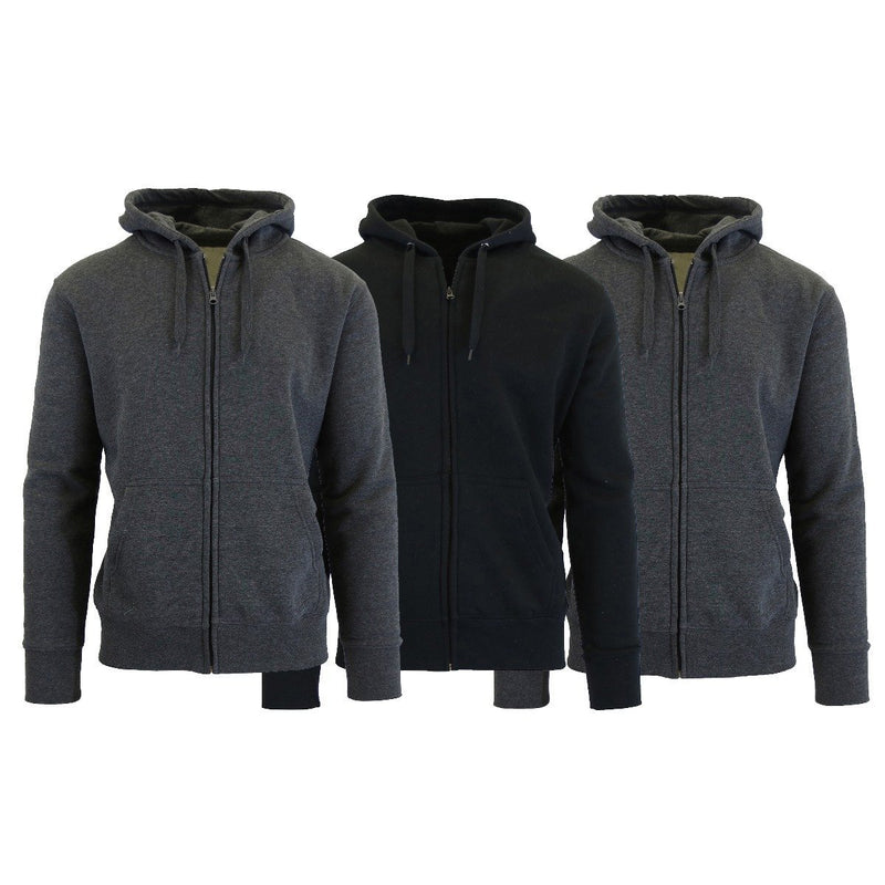 3-Pack Men's Slim-Fit Fleece-Lined Zip Hoodie Men's Apparel M Charcoal/Charcoal/Black - DailySale