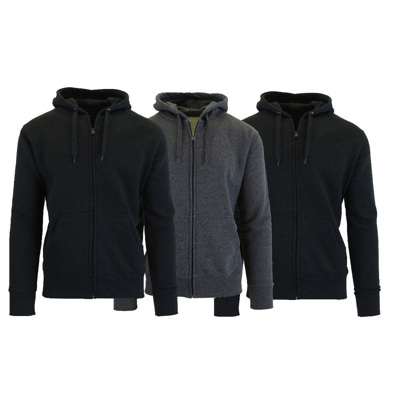 3-Pack Men's Slim-Fit Fleece-Lined Zip Hoodie Men's Apparel S Black/Black/Charcoal - DailySale