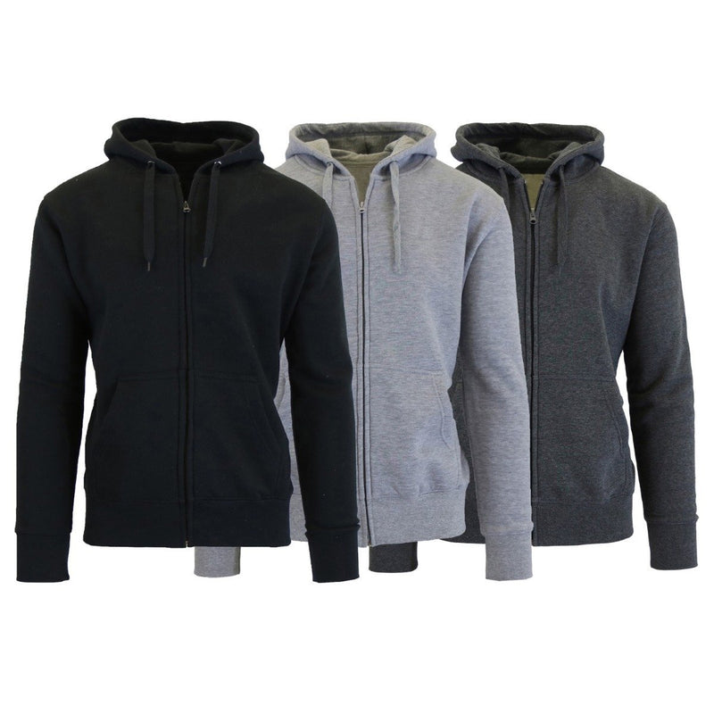 3-Pack Men's Slim-Fit Fleece-Lined Zip Hoodie Men's Apparel S Black/Charcoal/Heather Gray - DailySale