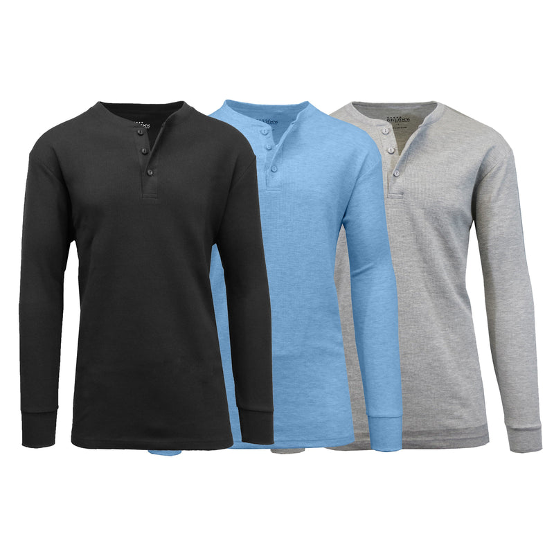 3-Pack: Men's Waffle-Knit Thermal Henley Tees Men's Clothing Black/Heather Blue/Heather Gray S - DailySale