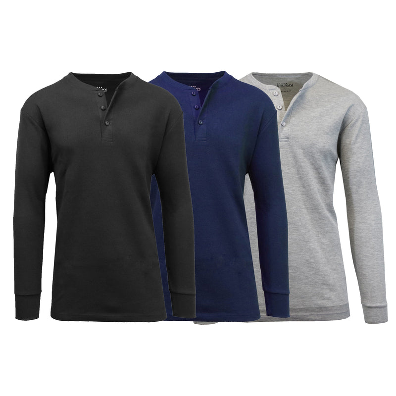 3-Pack: Men's Waffle-Knit Thermal Henley Tees Men's Clothing Black/Navy/Heather Gray S - DailySale