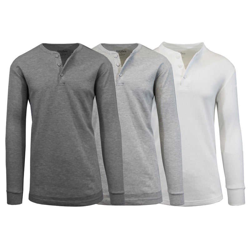3-Pack: Men's Waffle-Knit Thermal Henley Tees Men's Clothing Charcoal/Heather Gray/White S - DailySale