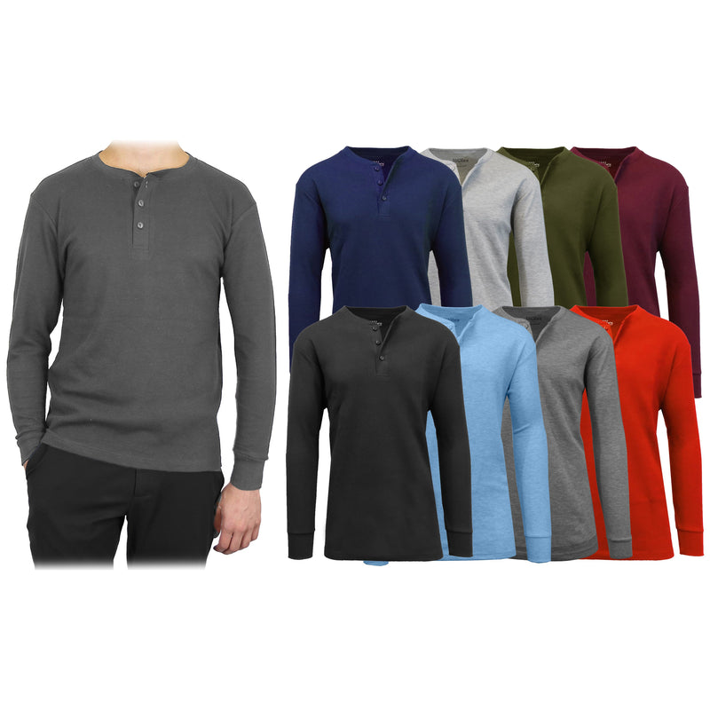 3-Pack: Men's Waffle-Knit Thermal Henley Tees Men's Clothing - DailySale