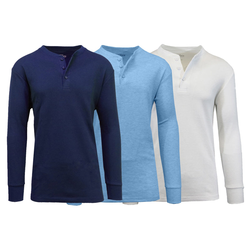 3-Pack: Men's Waffle-Knit Thermal Henley Tees Men's Clothing Navy/Heather Blue/White S - DailySale