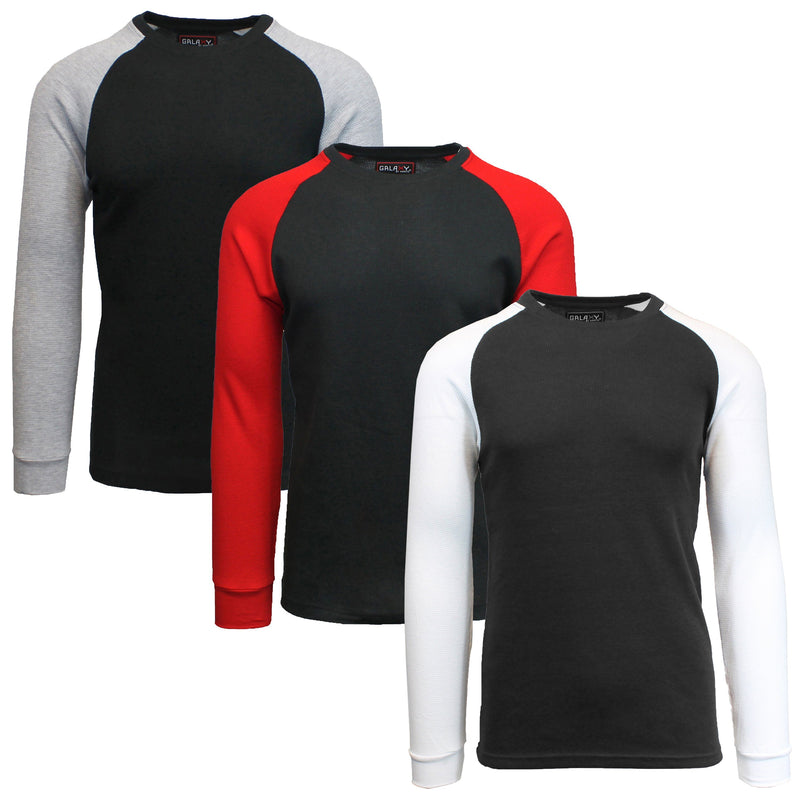 3-Pack: Raglan Sleeve Thermal Shirt Men's Clothing Set 1 S - DailySale