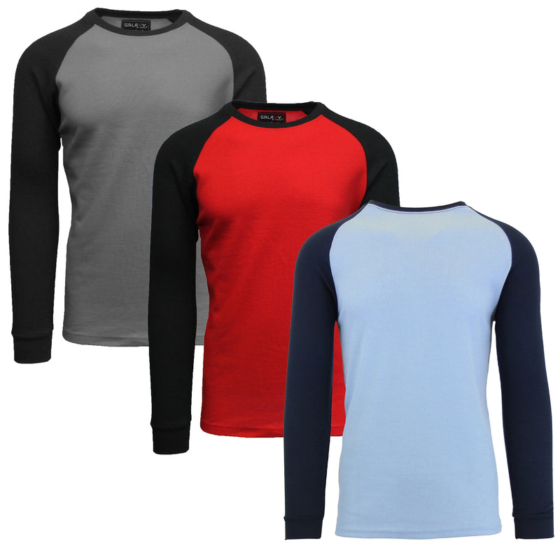 3-Pack: Raglan Sleeve Thermal Shirt Men's Clothing Set 2 S - DailySale