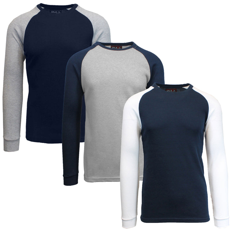 3-Pack: Raglan Sleeve Thermal Shirt Men's Clothing Set 3 S - DailySale